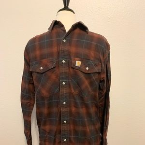 Cathartt relaxed fit cotton plaid snap shirt